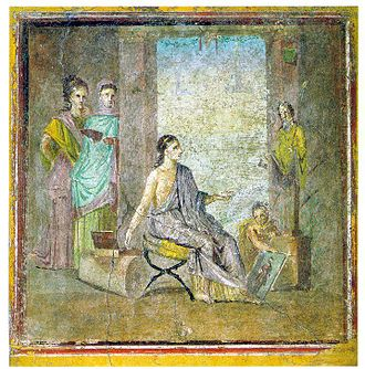 Roman art - Pompeian painter with painted statue and framed painting, Pompeii