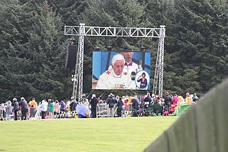 Cofton Park - Large display screen showing Pope Benedict XVI