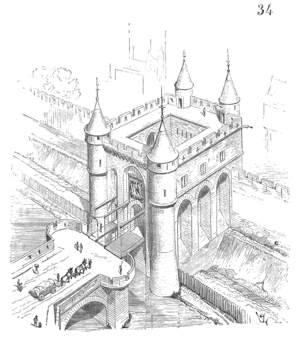 Wall of Charles V - The porte Saint-Denis, drawing by Eugène Viollet-le-Duc.