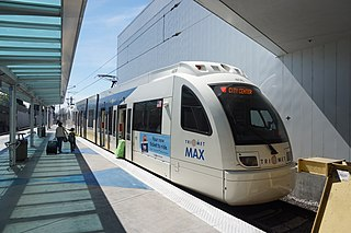 MAX Red Line Light rail line serving Beaverton, Portland, and Portland International Airport
