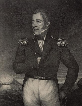 Thomas Cochrane, 10th Earl of Dundonald - Engraving dated 1827 portraying Cochrane. French ships can be seen burning in the background.