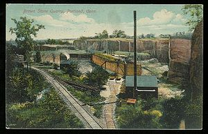Portland Brownstone Quarries - Image: Postcard Portland CT Brownstone Quarry 1911
