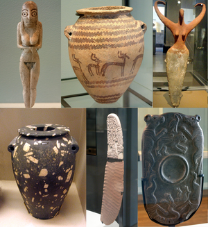 Prehistoric Egypt - Predynastic artifacts: clockwise from top left: a Bat figurine, a Naqada jar, an ivory figurine,  a diorite vase, a flint knife, a cosmetic palette.