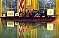 President Bill Clinton talks on the Oval Office telephone with Prime Minister Ehud Barak of Israel.jpg