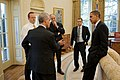 President Obama, Rahm Emanuel, Robert Gibbs, Phil Schiliro and Ben Rhodes, Oct 2009.jpg