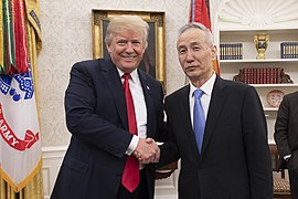 President Trump Talks Trade with the Vice Premier of the People's Republic of China, Liu He, 2018 (27309127577).jpg