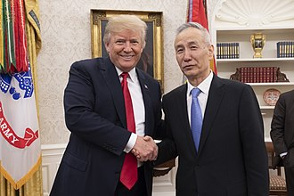 China–United States trade war - President Trump talks trade with the Vice Premier of the People's Republic of China, Liu He, May 2018