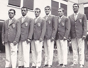 Italy at the 1960 Summer Olympics - Italian medalists in boxing, left-right: Primo Zamparini, Francesco Musso, Sandro Lopopolo, Nino Benvenuti, Carmelo Bossi and Francesco de Piccoli