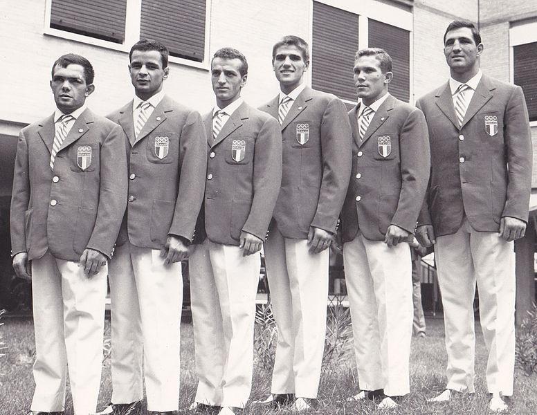 File:Primo Zamparini, Francesco Musso, Sandro Lopopolo, Nino Benvenuti, Carmelo Bossi, Francesco de Piccoli 1960.jpg