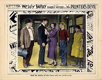 The Printer's Devil (film) - Lobby card with George C. Pearce, Harry Myers, Kathryn McGuire, Wesley Barry, and Mary Halter