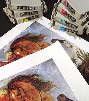 Giclée - The Hippopotamus and Crocodile Hunt by Peter Paul Rubens, printed on paper and canvas stock, with the seven Epson pigmented ink printer cartridges used to produce it (printer and prints commonly called giclée)