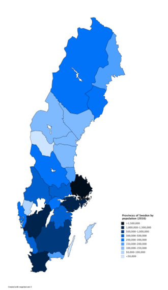Provinces of Sweden - Population of Swedish provinces in 2016