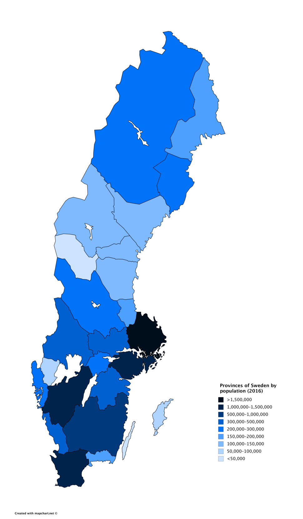 Provinces of Sweden by population (2016)