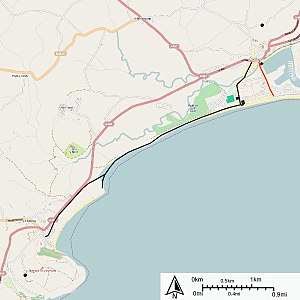 Pwllheli and Llanbedrog Tramway - Map of the Pwllheli Corporation Tramways (red line) and Pwllheli and Llanbedrog Tramways (black