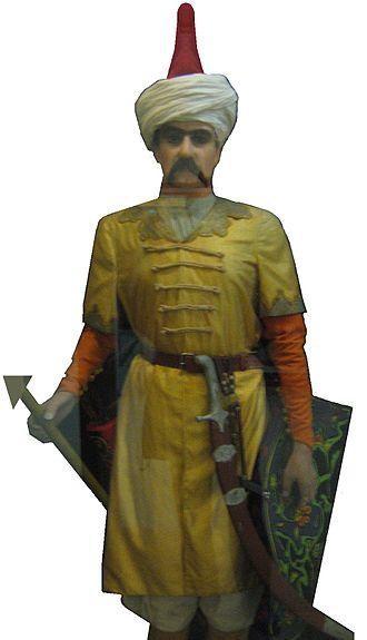 Safavid dynasty - Mannequin of a Safavid Qizilbash soldier, showing characteristic red cap (Sa'dabad Palace, Teheran)
