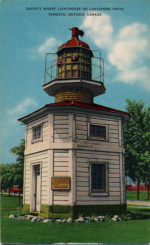 Lake Shore Boulevard - Formerly on the waterfront, the Queen's Wharf Lighthouse now lies north of Lake Shore Boulevard