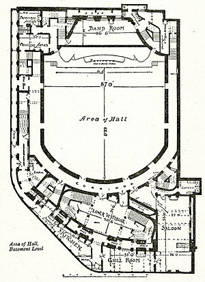 Queen's Hall - Knightley's plan for the platform level of the hall