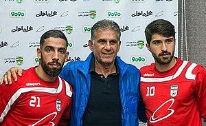 Karim Ansarifard - Karim Ansarifard with Carlos Queiroz and Ashkan Dejagah before match of Oman in 2018 FIFA World Cup qualification