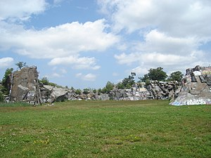 Quincy Quarries Reservation - View across earth-filled quarry