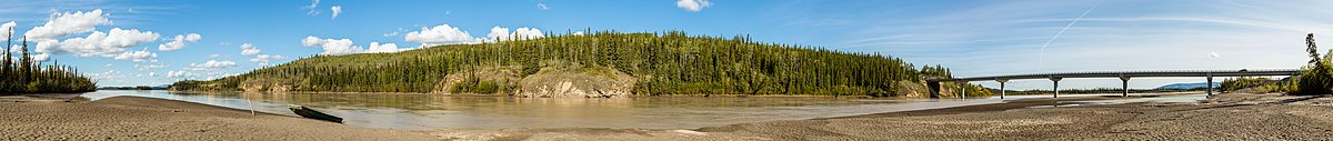 Panoramic view of a landscape at the banks of the Tanana River near Tok, Alaska, United States.