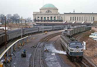 Broad Street Station (Richmond) - The Silver Comet, and The Silver Star at left at Broad Street Station on March 9, 1969
