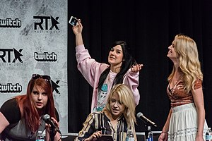 RWBY - RWBY voice actresses Lindsey Jones, Kara Eberle, Arryn Zech and Barbara Dunkelman at the RTX 2017 convention in Austin, Texas.