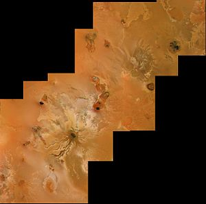 Volcanology of Io - Voyager 1 image of volcanic pits and lava flows near Ra Patera