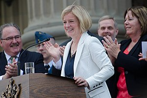 Rachel Notley - Rachel Notley after being sworn in as the 17th Premier of Alberta alongside her cabinet on the steps of the Alberta Legislature Building