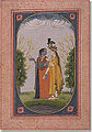 Radha and Krishna dress in each other's clothing; a Kangra School painting, 18th c..jpg