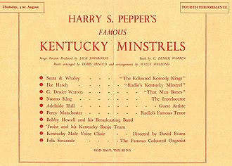 Adelaide Hall - Radiolympia, Thursday 31 August 1939, Kentucky Minstrels show starring Adelaide Hall