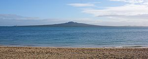 Mission Bay, New Zealand - Image: Rangitoto Island from Mission Bay Flickr 111 Emergency