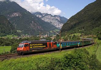 Swiss locomotive and railcar classification - New system: Re 460 near Erstfeld, 16 August 2008.