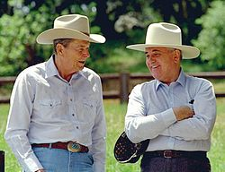 Reagan and Gorbachev in western hats 1992