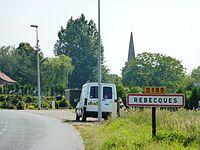 Rebecques (Pas-de-Calais, Fr) city limit sign.JPG
