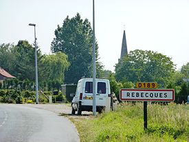 Rebecques (Pas-de-Calais, Fr) city limit sign.JPG