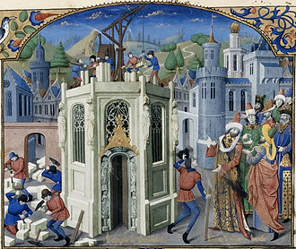 Crusader states - 13th century depiction of the reconstruction of the temple of Jerusalem from the Old French translation of Guillaume de Tyr's Histoire d'Outremer.