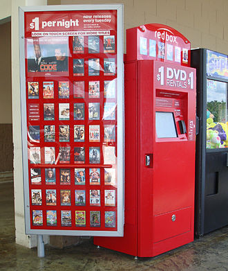 Video rental shop - A Redbox automated DVD and game disc rental machine.