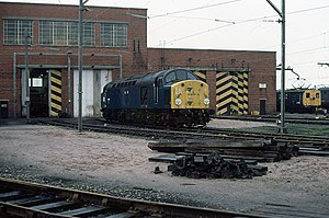 Reddish Electric Depot - A Class 40 diesel locomotive and Class 506 EMU outside Reddish depot in May 1981