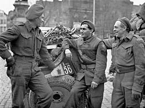 The Royal Regina Rifles - Three soldiers of the Regina Rifles Regiment who landed in France on June 6, 1944, in Ghent, Belgium, November 8, 1944