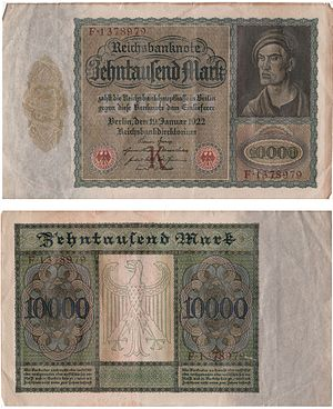 Reichsbank - A 10000 Mark banknote issued by the German Reichsbank in 1922. A watermark is present, but not visible in scanned image.