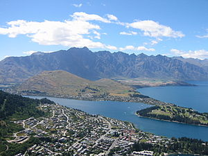 The Remarkables - View from the top of the gondola into Queenstown, with Remarkables behind.