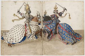 Barthélemy d'Eyck - Page from King René's Tournament Book (BnF Ms Fr 2695)