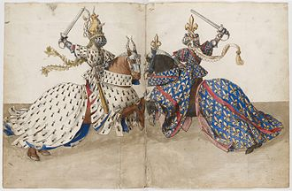 Tournament (medieval) - Watercolor, probably by Barthélemy d'Eyck, from King René's Tournament Book