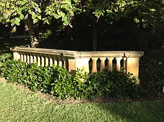 Hordern family - The stone balustrade from the demolished Retford Hall, Darling Point, is now in the garden of Retford Park, Bowral