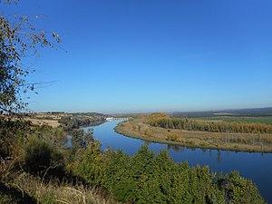 Ribera del Duero en Castronuño desde el mirador de la Muela hacia la presa.jpg