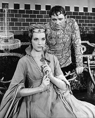 Julie Andrews - Andrews as Queen Guinevere with Richard Burton as King Arthur in the musical Camelot
