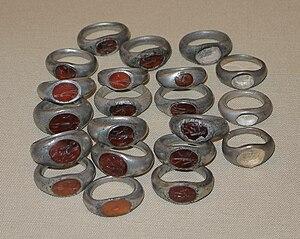 Snettisham Jeweller's Hoard - Jewel-set rings from the Snettisham Jeweller's Hoard.