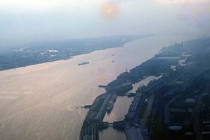 River Mersey - An aerial image of the estuary in 1962.