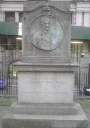 Trinity Church Cemetery - A cenotaph marker erected by the American Society of Mechanical Engineers honoring Robert Fulton at Trinity Church.