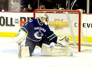 Roberto Luongo - Luongo makes a save during a pre-game warmup in 2010